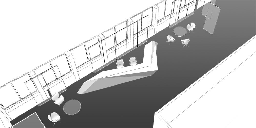 Дизайн интерьера вестибюля Европейского патентного бюро в Вене Interior Design Euripäisches Patent Amt Wien